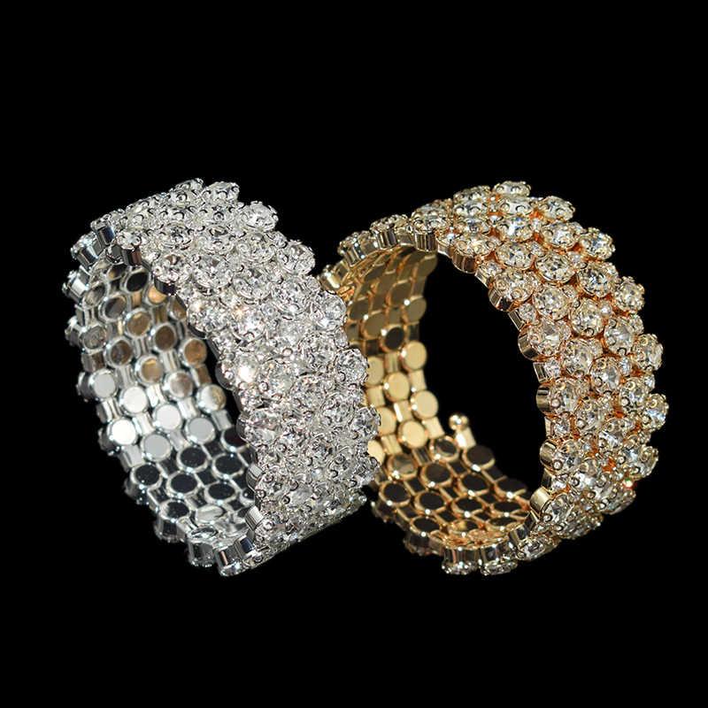 אופנה מרובה שורות קריסטל מתכוונן צמיד צמיד לנשים זהב כסף צבע חתונה צמידים & צמידי תכשיטי מתנה
