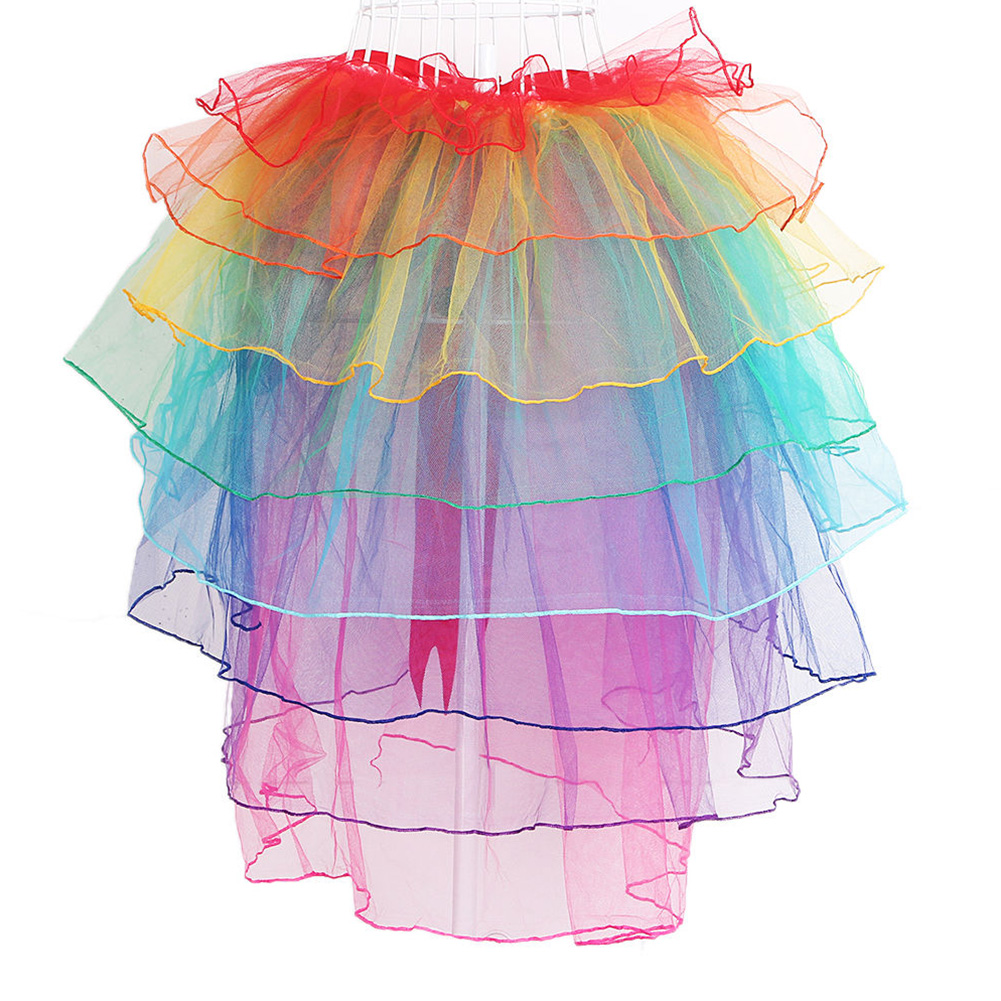 New Women Sexy show Rainbow skirt Puff skirt Nightclub stage performance skirt Colorful skirt #0312