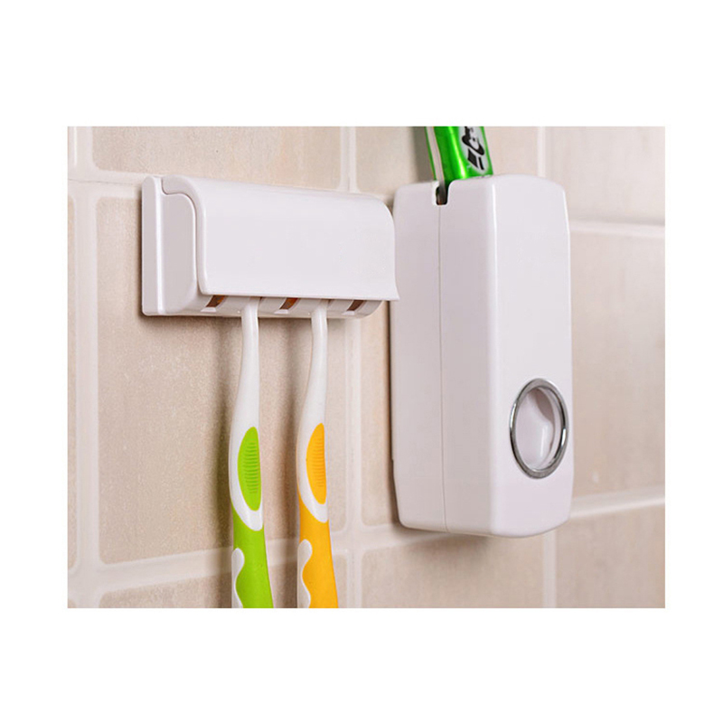 EHEH Bathroom Shelves Toothbrush Holder Automatic Toothpaste Dispenser Set 5 Slots Toothbrush Stand Home Wall Mounted Rack