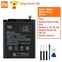 Bateria Original BN41 BN43 BM47 Para Xiaomi Redmi Nota Hongmi 4 Note4 Pro Note4X Helio X20 Mi5X Mi Redmi 3 3S note2 MTK BN31 BN45