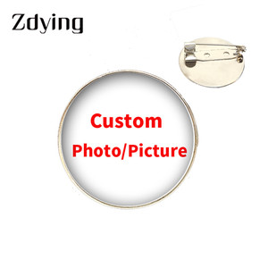 ZDYING Handmade Custom Photo/Picture Badge Brooch Glass Cabochon Dome DIY Personalized Brooches Pins Silver Plated Accessories