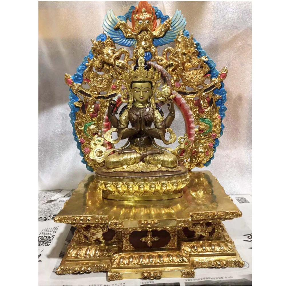 Man~jus//ri^ bodhi-sattva Manjushri Bronze Bodhisattva Kwan-yin Buddha Statue