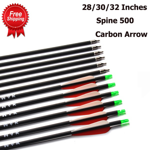Image 1 - Carbon Arrow 28/30/32 Inches Length Spine 500 with Replaceable Arrowhead for Compound/Recurve Bow Archery Hunting