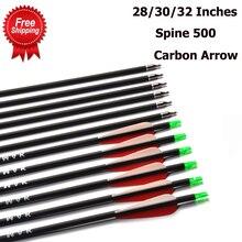 Flèche en carbone 28/30/32 pouces de longueur colonne vertébrale 500 avec pointe de flèche remplaçable pour la chasse à larc composé/classique