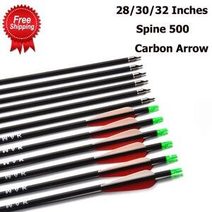 Image 1 - Flèche en carbone 28/30/32 pouces de longueur colonne vertébrale 500 avec pointe de flèche remplaçable pour la chasse à larc composé/classique