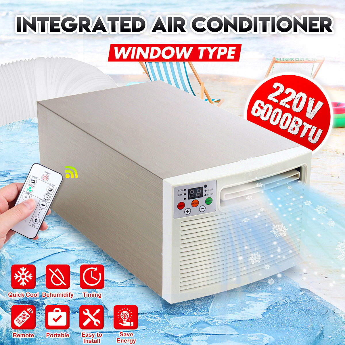 1400W Portable Air Conditioner Cold/Heat 220V/AC 24hour Timer With Remote Control Digital Display Control Panel Air Conditioner