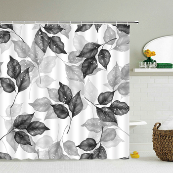 Waterproof Fabric Leaves Plant Flowers Shower Curtains Bathroom Large 240X180 3D Printed Decoration Shower Curtain Bath Screen image