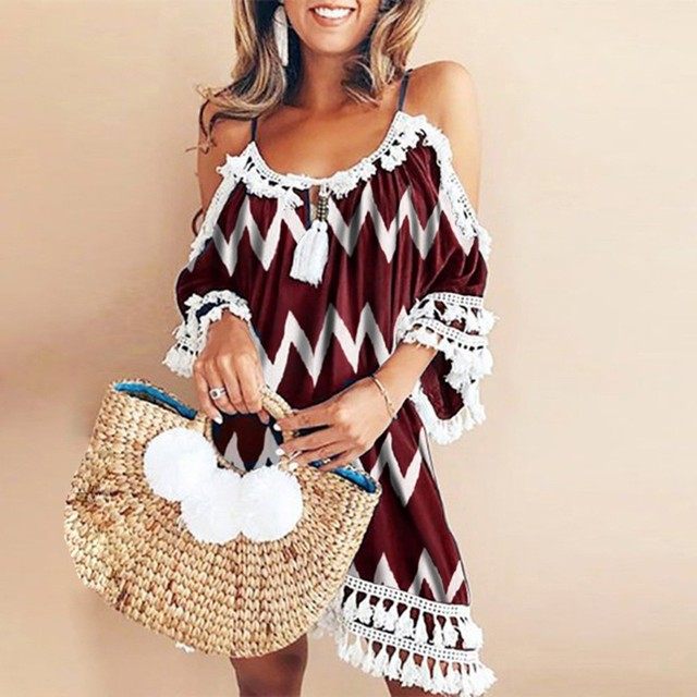 Women Summer Dress Plus Size Leisure Sweet Korean Version Halter Tassel Off Shoulder Ripple Printed Lace Loose Beach Dress G1