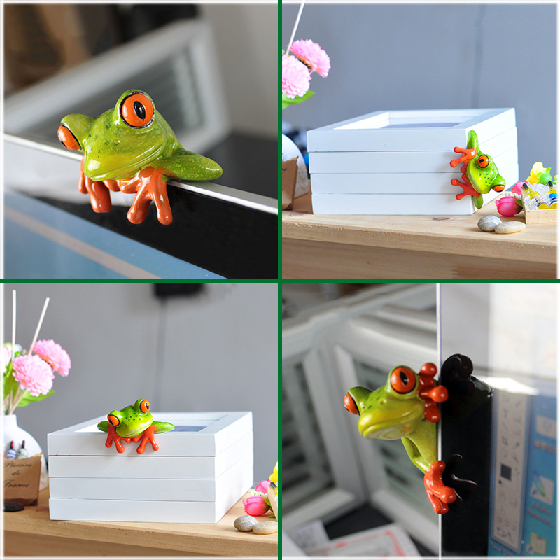 Fashion Clearly Mini Cute Frog Statue Monitor Book Holder Ornament Home Office Desk Decor Toy Gift