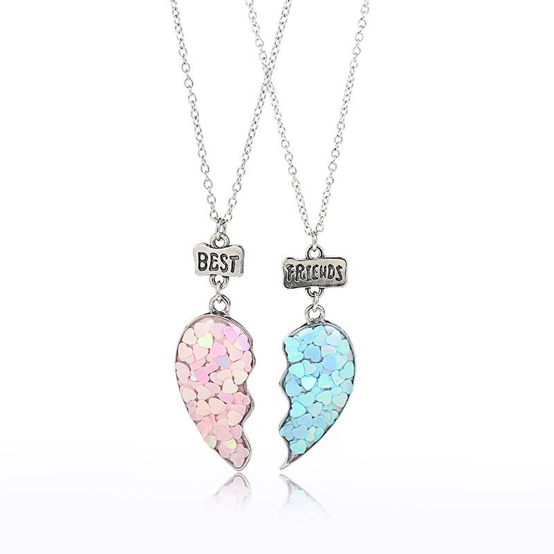 1Set Rosa Blau Herz kinder Freundschaft Legierung Pullover Halskette Für Mädchen Schmuck Besten Freund Geschenke Kinder Schmuck Mode halsband