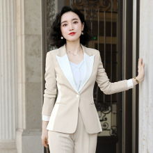Womens Pant Suit Set  2019 Autumn New Fashion Full Sleeve Patchwork Jacket Long Trousers Work Career Ladies Office Suit ow0524