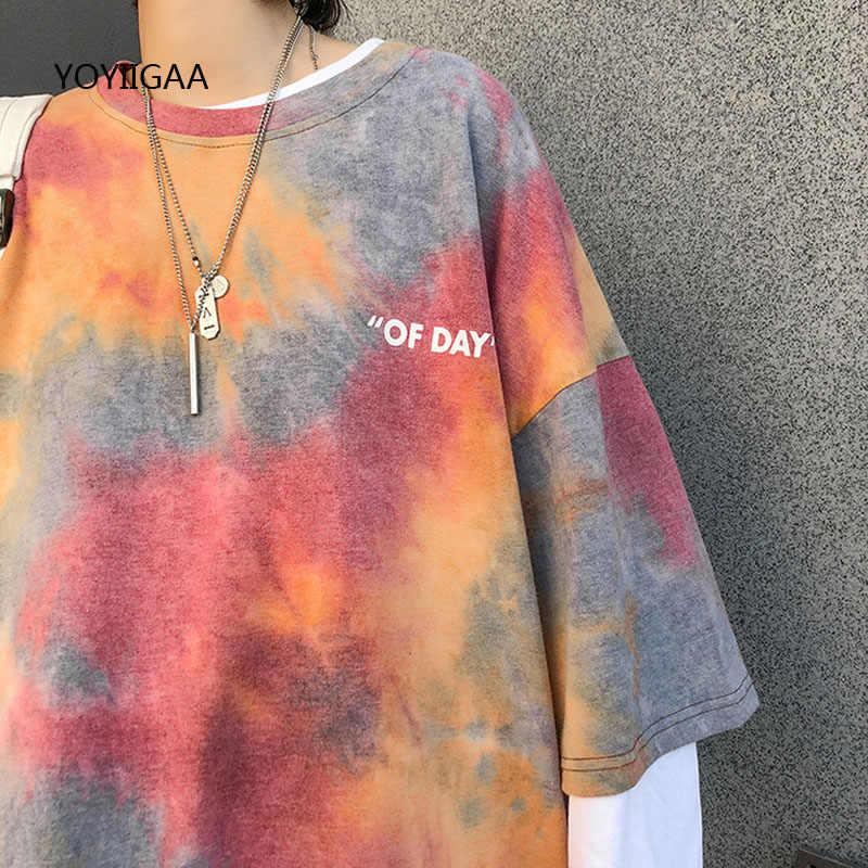 T-shirt da donna Tie Dye t-shirt estiva manica corta da donna t-shirt Casual o-collo maglietta da donna allentata da donna Harajuku top da donna