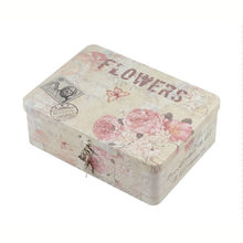 Retro tin box with lock, gift packaging box, snack jewelry storage box, square storage tin can