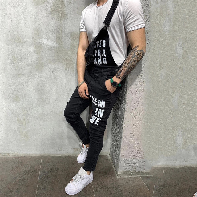 2020 Fashion Men's Ripped Jeans Jumpsuits Ankle Length Letter printing Distressed Denim Bib Overalls