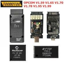 Para opel opcom novo firmware v1.59 v1.65 v1.70 v1.78 v1.95 v1.99 com pic18f458 ftdi chip opcom v1.95 ft232rq chip mais estável