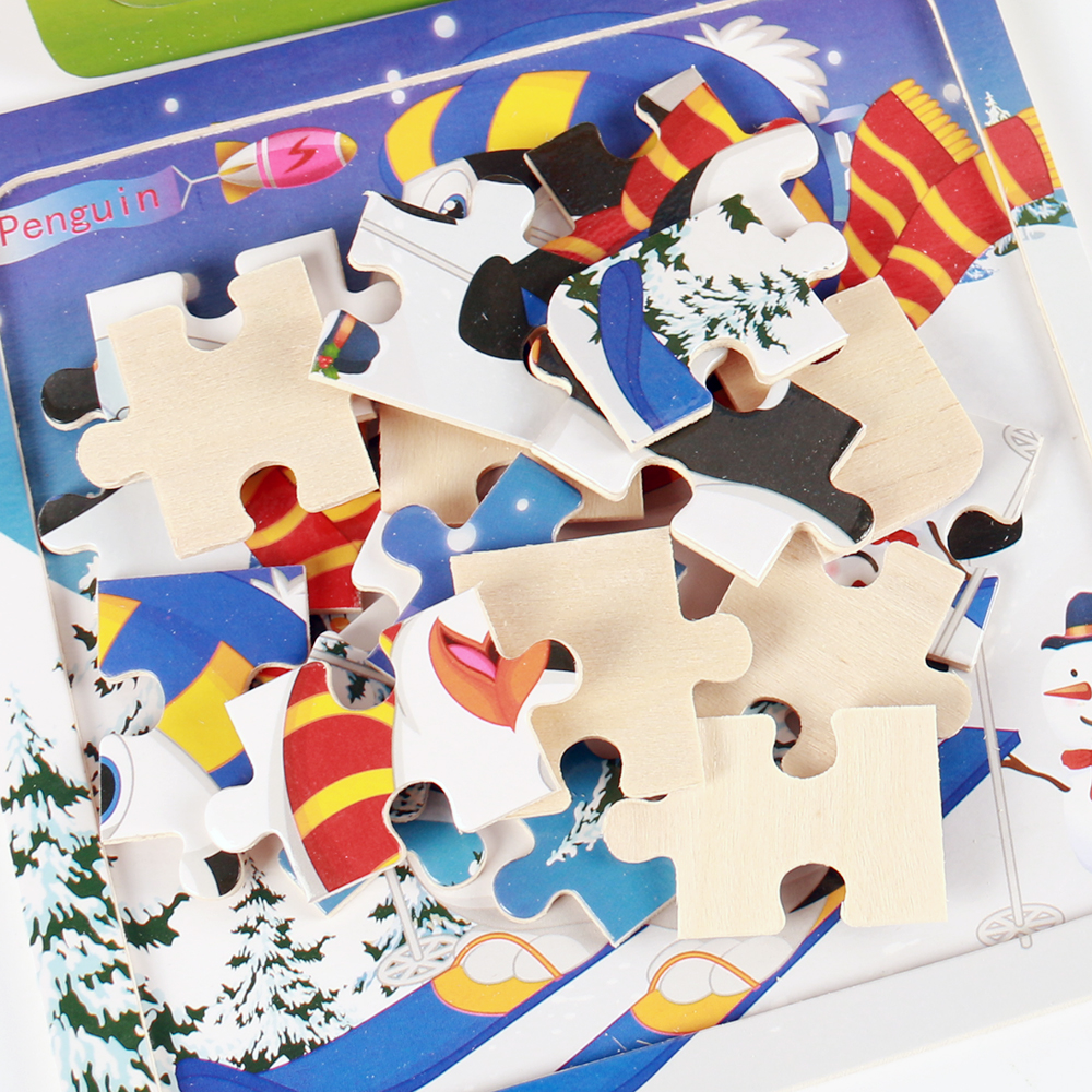 Image 5 - Hot Sale 20 Slice Wooden Puzzle Toy Children's Baby Educational Learning Toys for Kids Cartoon Animals/ Vehicle Jigsaw FH G020-in Puzzles from Toys & Hobbies