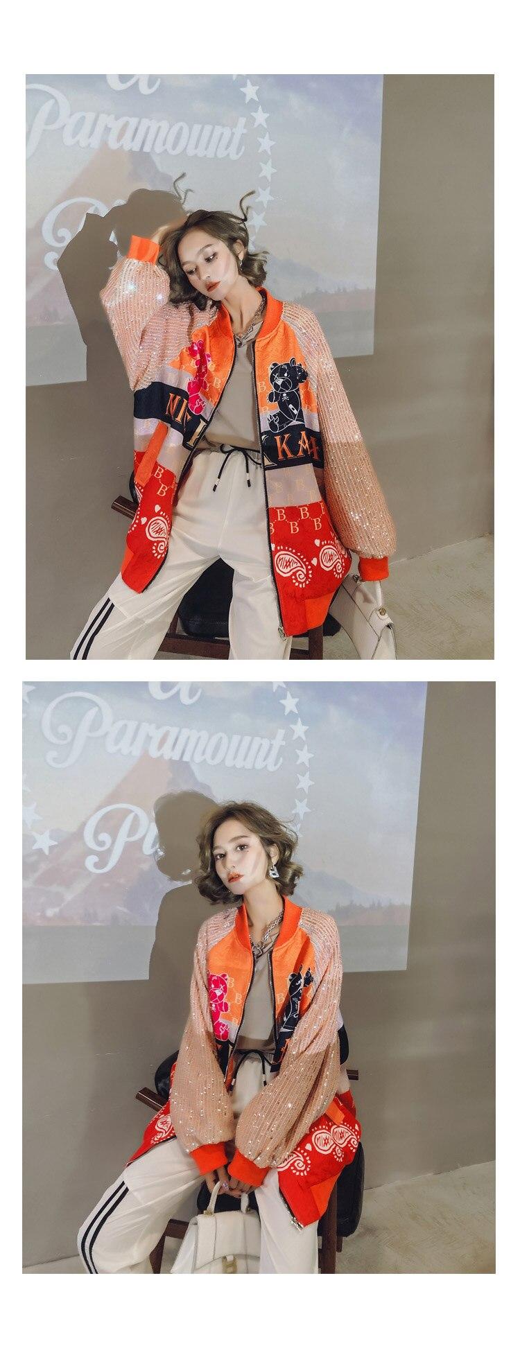 Hf0f3f0e37eb044d6820c78f182a8d1bfP 2021 Spring Women Long Sequins Print Patchwork Loose Coat