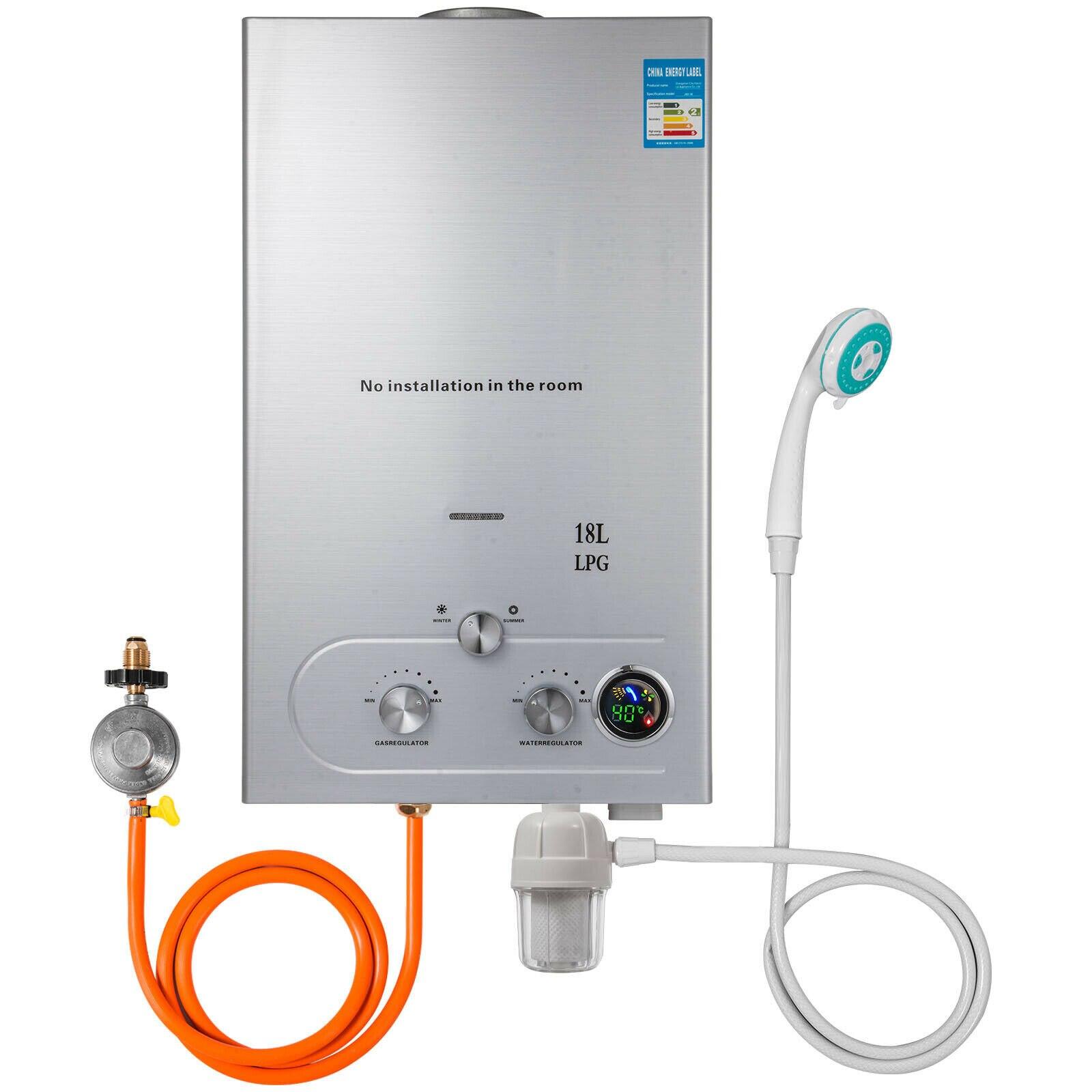 18L Hot Water Tank Instantaneous Water Heater Propane Water Filter Gas Regulator