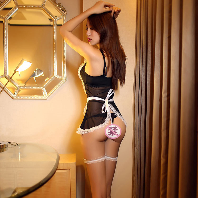 Maid Uniform Costumes Role Play Women Sexy Lingerie Hot Sexy Underwear Lovely Female White Lace Erotic Costume Babydoll Chemise 2