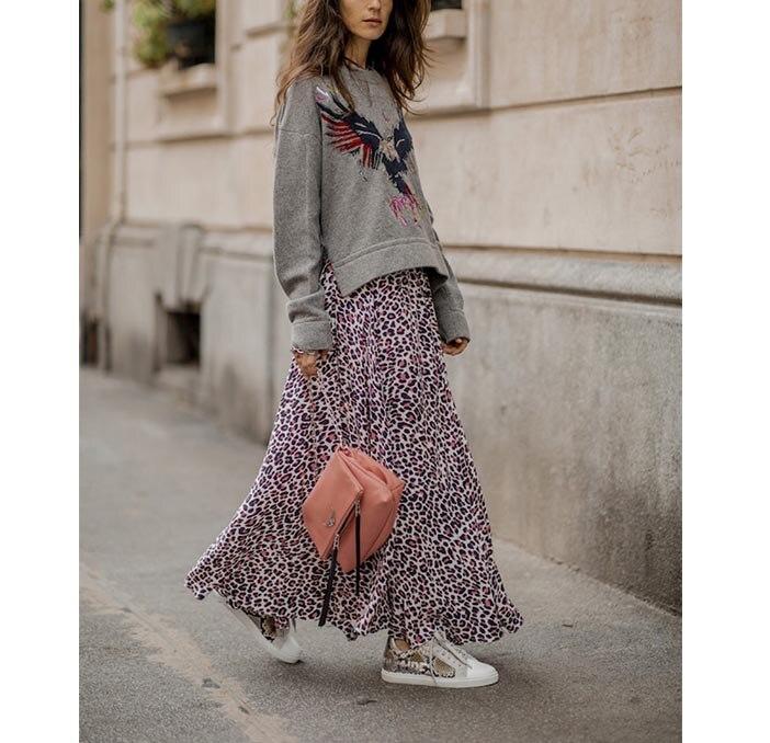 Niebieski Leopard drukuj Maxi wiskoza spódnice asymetryczna dołem na zamek błyskawiczny z powrotem moda kobieta spódnice w Spódnice od Odzież damska na  Grupa 1