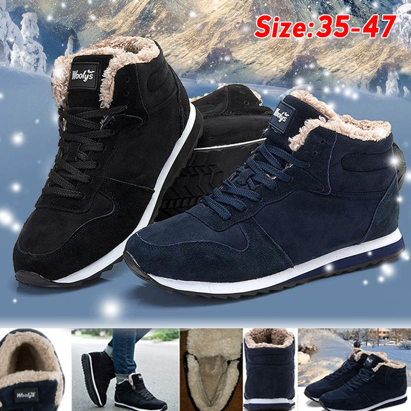 Men Boots Men's Winter Shoes Fashion Snow Boots Shoes Plus Size Winter Sneakers Ankle Men Shoes Winter Boots Black Blue Footwear