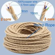 2 Core 3 Core Twisted Kabel Hanf Seil Elektrische Draht Retro Stil Kupfer Vintage Lampe Schnur Woven Textil Draht Anhänger licht Schnur