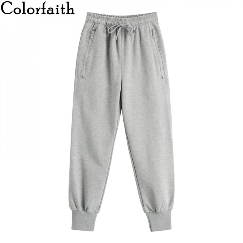 Colorfaith 2019 Spring Winter Women Pants High Elastic Waist Casual Zipper Pockets Sweat Sports joggers Lace Up Trousers P3984|Pants & Capris| - AliExpress