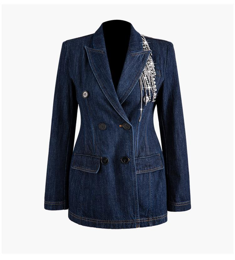 Women's Patchwork Crystal Tassel Blazer Notched Long Sleeve Double Breasted Denim Coats Office Lady Fashion Blazer Suit
