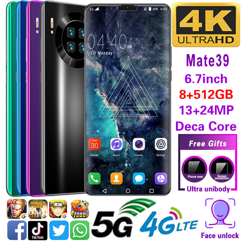 Mobile Phone Mate39 Smartphone MTK6799 Phones Deca Core 6.7inchHD Cell Phones 1440*3040  Cellphone 5G8GB+512GB 13MP+24MP