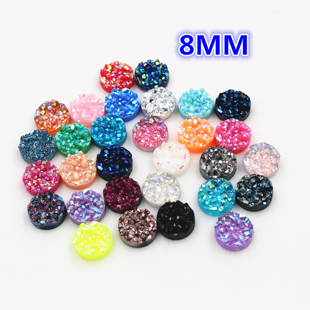 New Fashion 40pcs 8mm Mix AB Colors Natural Ore Style Flat Back Resin Cabochons For Bracelet Earrings Accessories-