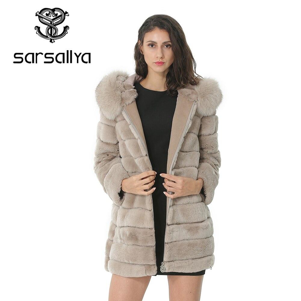 New 2019 Winter Real Rabbit Fur Coat Stand Collar Thick Soft Warm Natural Fur Long Jacket Women Outwear Full Pelt Fur Coats