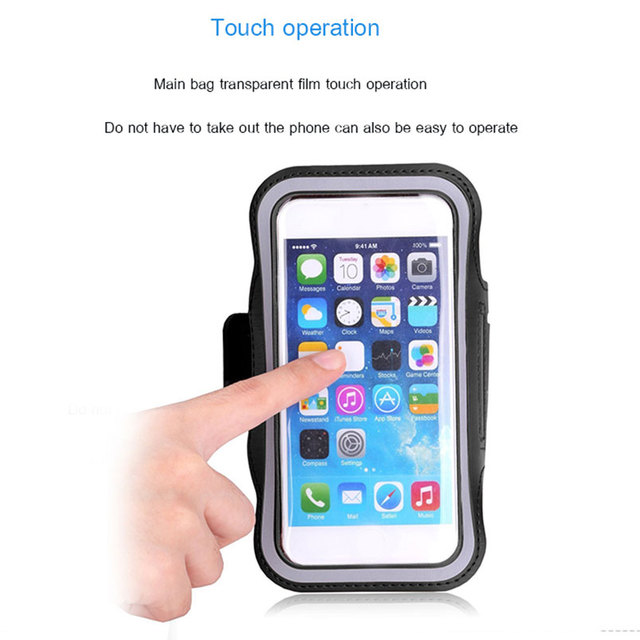 BLACK Waterproof Gym Sports Running Armband for Iphone 11 Pro Max Xs Max XR X 8 4s 5s 5c 6 6s 7 7s Plus Arm Band Phone Bag Case 2