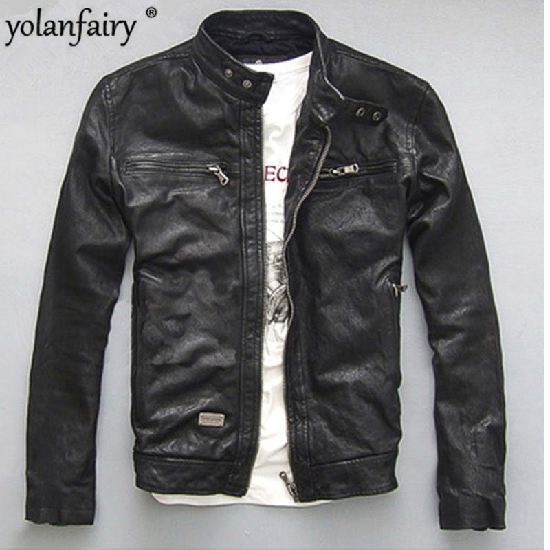 YOLANFAIRY Spring Autumn Men's Genuine Leather Jacket Short Slim Motocycle Jackets For Men Outerwear Jaqueta De Couro MF030