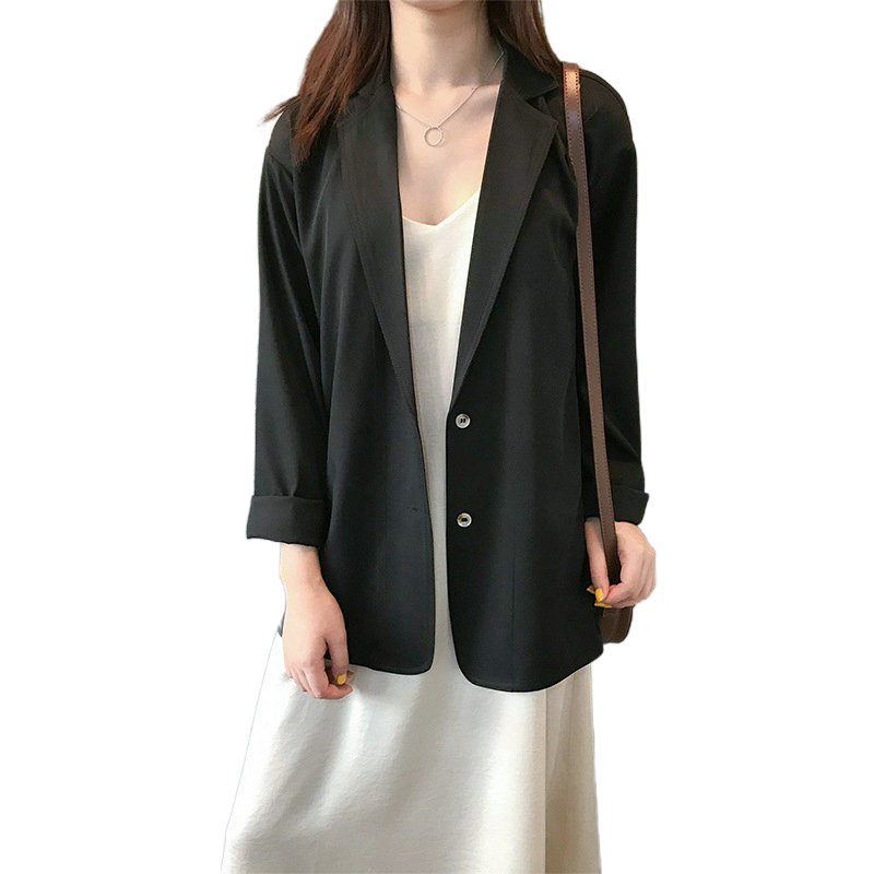Tangada Women Spring Thin Black Blazer Korean Fashion Ladies Work Wear Suits High Quality ASF37