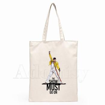 The Queen Band Freddie Mercury Print Reusable Shopping Bag Women Canvas Tote Bags Printing Eco Bag Cartoon Shopper Shoulder Bags 3