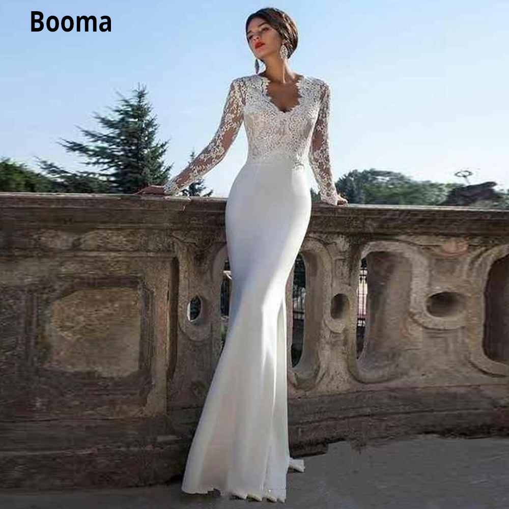 Booma Mermaid Wedding Dresses Long Sleeves V Neck Soft Satin With Lace Appliques Bridal Gowns Vintage Custom With Sweep Train