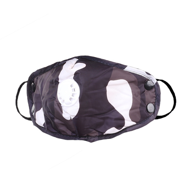 1PCS PM2.5 Washable Mouth Mask With Breathing Valve Anti Haze Dust Mask Nose Filter Windproof Face Anti Bacteria Flu 1
