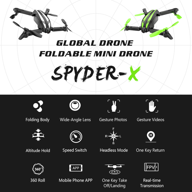 Global Drone SPYDER-X Mini Drones with Camera HD FPV Drone X Pro RC Helicopter Camera Quadrocopter Dron Toys for Kids VS E58 2