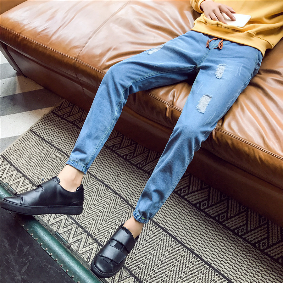 Japanese-style Fashion Man With Holes Jeans Men's Spring And Summer Thin Ankle Banded Pants Lace-up Elastic Waist Skinny Pants S