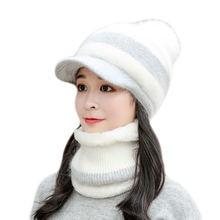 Новинка женский теплый вязаный комплект из шапки и шарфа с кроличьим