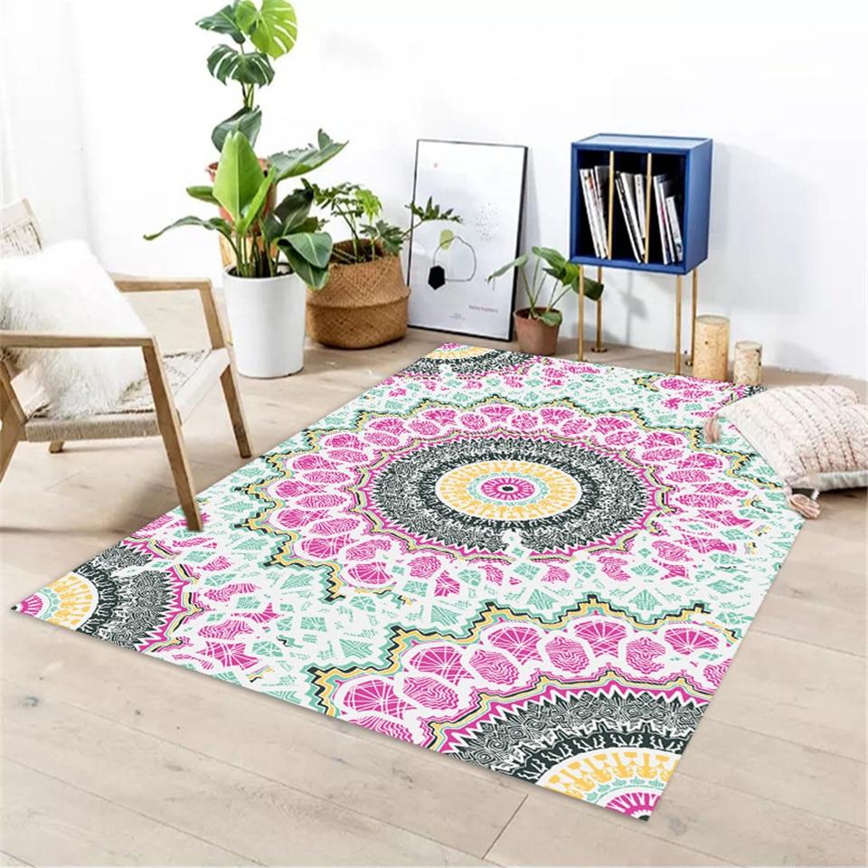 Fresh Colorful Mandala Area Rug For Living Room Simple Carpet For Bedroom Anti slip Floor Mat Washable Carpet For Bathroom Door Carpet  - AliExpress