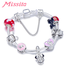 MISSITA Cute Mickey Series Bracelets with Lovely Minnie Pendant Brand Bracelet for Women Anniversary Party Gift