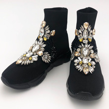 Fashion Sneakers Women Crystal Black Rhinestone Bling Winter Shoes for Girls WK103