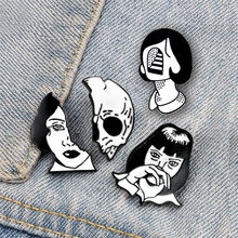 Weird Girls Head Enamel Pins Black And White Horror Face Brooches Skull Collection Badges Backpack Denim Creative Jewelry Gifts