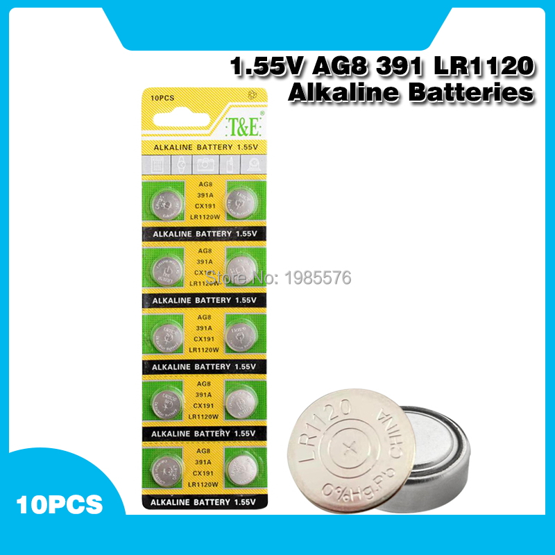 10pcs AG8 391 533 553 609 LR1120 D381 GP391 SB-AS GS8 SR1120W SR55 TR1120 Alkaline Coin Cell Button Batteries For Watch