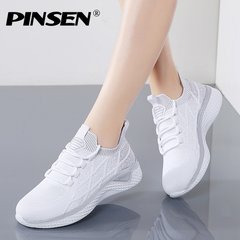 PINSEN 2020 New Fashion Women Shoes Breathable Mesh Casual Summer Shoes Comfortable Lace-up Sneakers Women Zapatillas Mujer