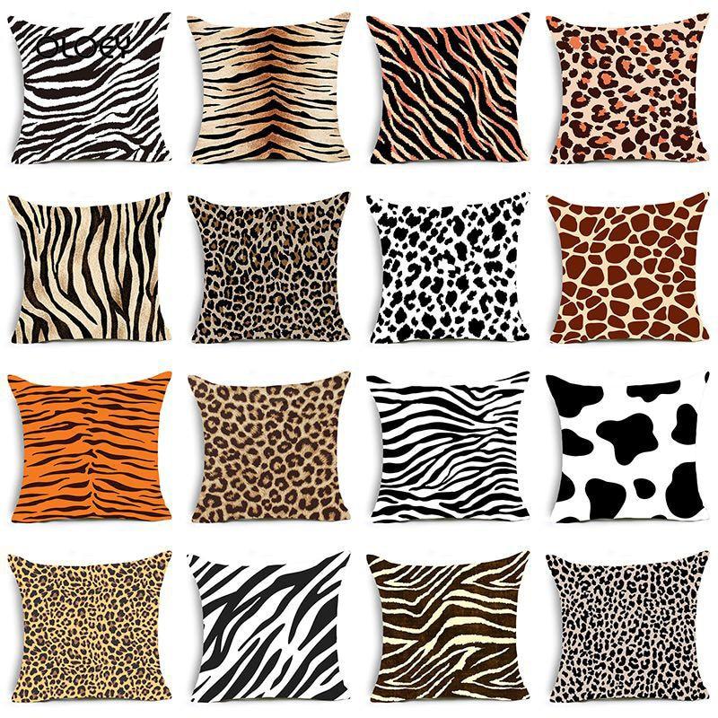 Leopard Cushion Cover Animal Velvet Super Soft Black And White Zebra Pattern Cushion Cover Home Bedroom Hotel Decoration 45x45cm