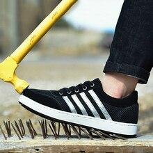 Duży rozmiar 35 46 mężczyźni obuwie ochronne ze stali Toe w stylu Casual, biurowy buty dla mężczyzn odporne na zużycie bezpieczeństwo pracy buty męskie oddychające sneakersy
