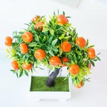 Bonsai artificiais plantas mandarim, laranja florescendo frutas árvore em vasos para decoração de casa/jardim casamento plantas falsas suprimentos artesanato