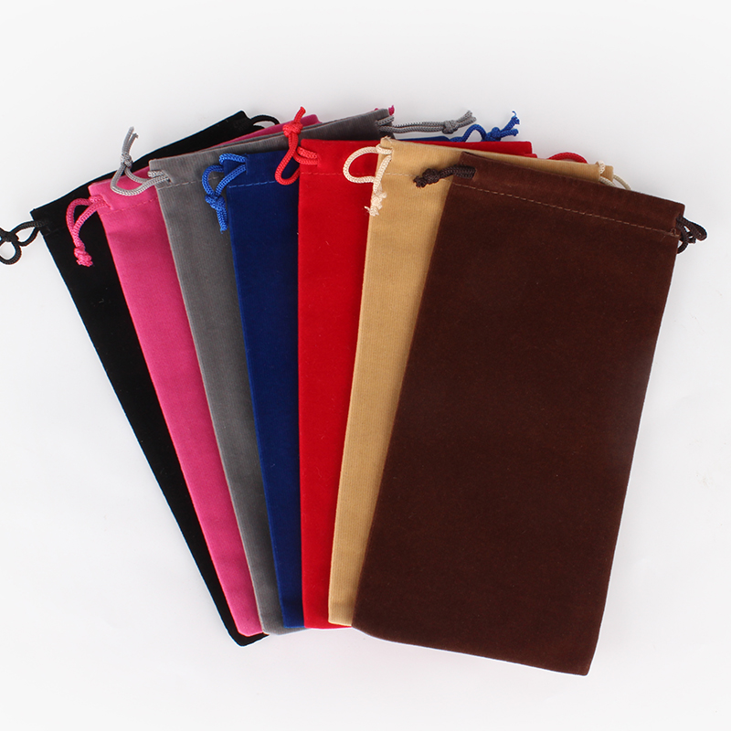 50pcs/lot 10x20cm Rectangle Drawable Velvet Pouches Gift Bag Wedding Favor Jewelry Packaging Display Bags Custom Logo Printed
